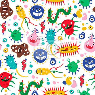 Various micro monsters and bacterias. Hand drawn vector seamless pattern