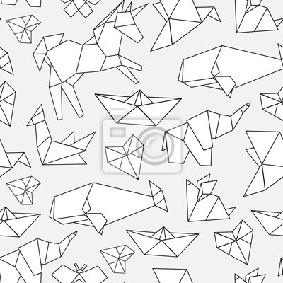 Various polygonal animals. Origami style. Hand drawn vector seamless pattern