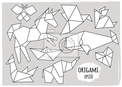 Various polygonal animals. Origami style. Hand drawn vector set. All elements are isolated
