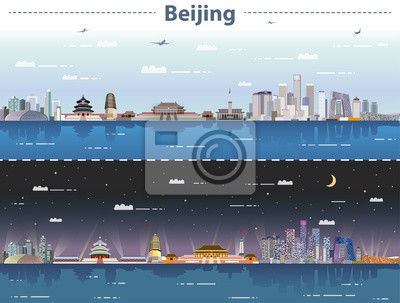 vector abstract illustration of Beijing  skyline at day and night