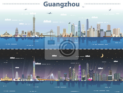 vector abstract illustration of Guangzhou  skyline at day and night