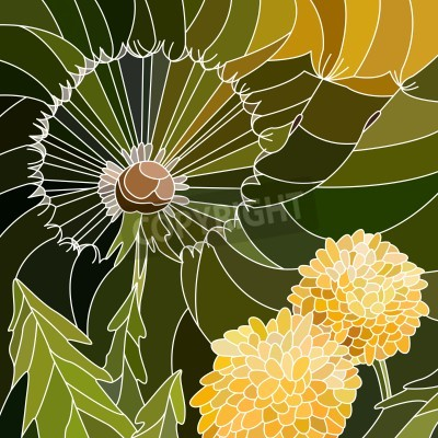 Sticker Vector abstrakte Mosaik mit großen Zellen der Gruppe der Löwenzahn auf grün.
