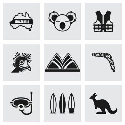 Sticker Vector Australia icon set