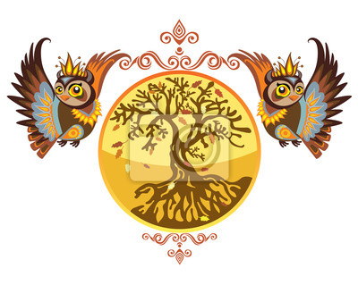 Vector_autumn_owls_with_tree