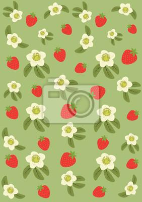 Vector_Background aus Erdbeeren und Blumen