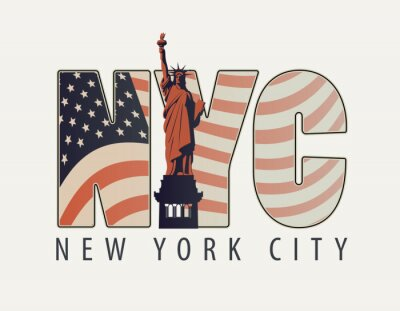 Sticker Vector banner with the letters NYC with the image of American flag and Statue of Liberty on light background