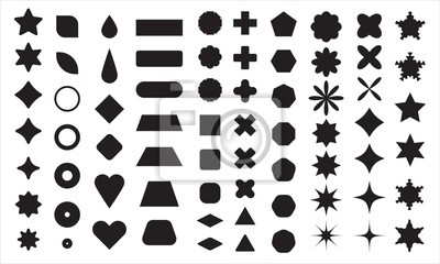 Sticker Vector basic shape collection for your design. Polygonal elements with sharp and rounded edges