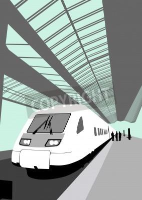 Sticker Vector Bild von einem modernen Hochgeschwindigkeitszug am Bahnhof