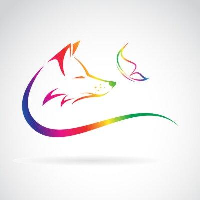 Sticker Vector Bild von Fuchs und Schmetterling auf weißem Hintergrund