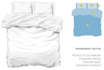 Sticker Vector blank white bed mock up for your design and fabric textures. Pillows and blanket with transparent shadows. View from the top