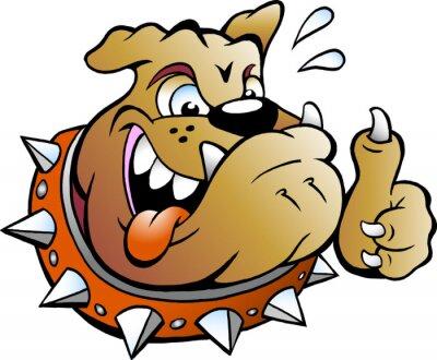 Sticker Vector Cartoon Illustration eines aufgeregten Bull Dog geben Thumb Up