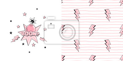 Vector childish graphic set of typographic print with Little cartoon pink bomb illustration boom text and Thunder lights with doodle stripes seamless pattern. Graphics for girlish fashion t-shirt