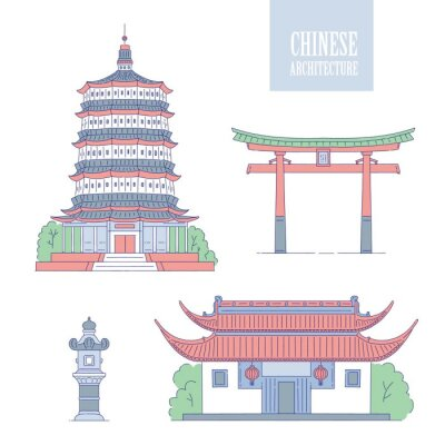 Vector Chinese architecture landmarks. Oriental buildings line art gate pagoda and gazebo. Set different architectural national tradition of China.