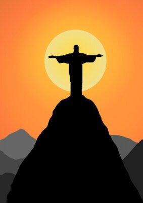 Sticker Vector: Christus der Erlöser-Vektor-Hintergrund