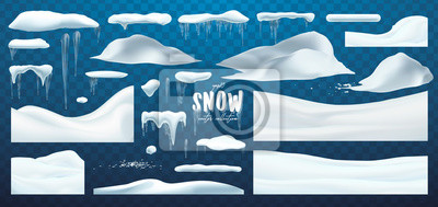 Sticker Vector collection of snow caps, pile, icicles, isolated on background, transparent, ice, snowball and snowdrift. 3d Winter decorations, Christmas, snow texture, white elements, holiday design.