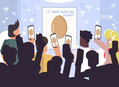 Vector conceptual illustration of people photographing a regular Egg at an exhibition and putting likes of this photo. Social network and trend