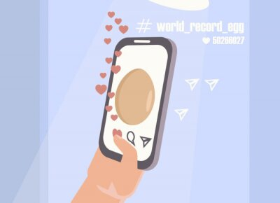 Vector conceptual illustration of the hand of a man pressing the like button on a social network next to a photo of an ordinary egg. Youth