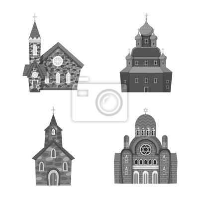 Vector design of architecture and faith logo. Set of architecture and traditional stock symbol for web.