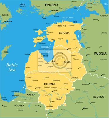 Vector Farbe Karte von baltischen Staaten