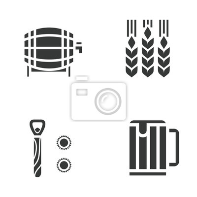 Vector flat illustration, icon set of beer