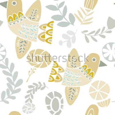 Sticker Vector folklorische Vögel und Blumen nahtloses Muster auf einem weißen Hintergrund. Ideal für Kunsthandwerk, Stoffe, Geschenkpapier, Tapeten