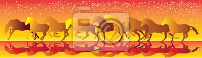 Vector gelben und roten Hintergrund mit Pferden laufen Galopp