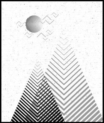 Sticker Vector geometrischen Dreieck Hintergrund, abstrakte Berge.Conceptual Hintergrund, mit Bergen.Flat Design, mit minimalen elements.Use für Karte, Poster, Broschüre, banner.Black und weiß Interior Print.