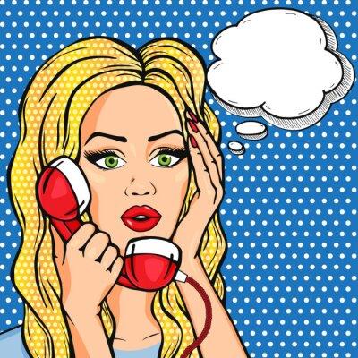Sticker Vector geschockt Frau am Telefon mit Gedankenblase, Vektor-Pop-Art-Comic-Stil