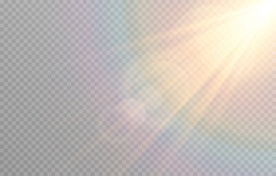 Sticker Vector golden light with glare. Sun, sun rays, dawn, glare from the sun png. Gold flare png, glare from flare png.