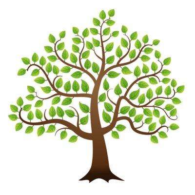 Sticker Vector grünen Baum auf weißem Hintergrund
