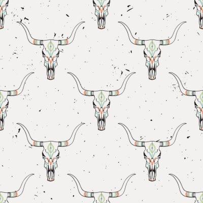 Sticker Vector grunge nahtlose Muster mit Stier Schädel und ethnischen Ornament