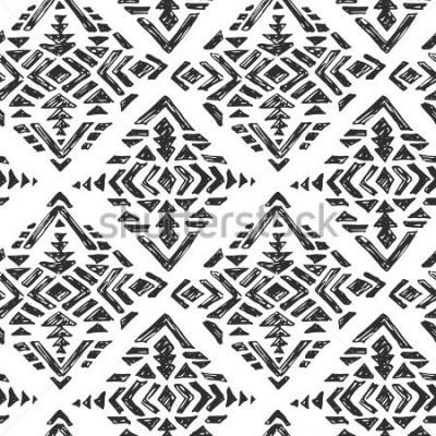 Sticker Vector Hand gezeichnetes ethnisches nahtloses Muster mit Stammes- abstrakten Elementen in der schwarzen weißen Gekritzelskizzenart