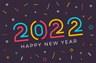 Sticker Vector Happy new year 2022 background with retro geometric colorful text and explosion of geometric shapes. For seasonal holiday web banners, flyers and festive posters