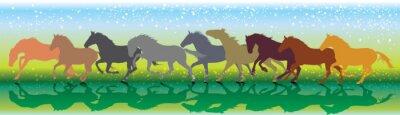Vector Hintergrund mit Pferden laufen Galopp