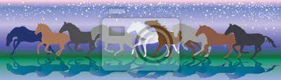 Vector Hintergrund mit Pferden laufen Galopp in der Nacht