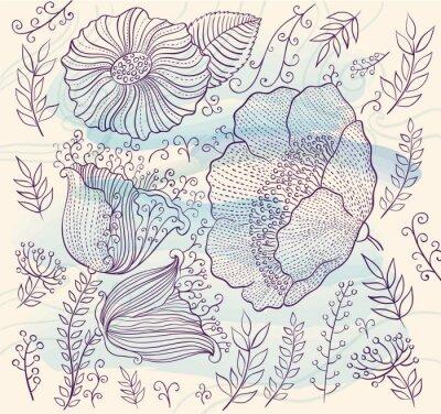Sticker Vector Hintergrund mit schönen Blumen und Blätter