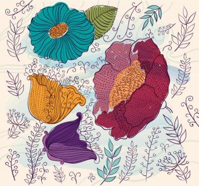 Sticker Vector Hintergrund mit schönen bunten Blumen und Blätter