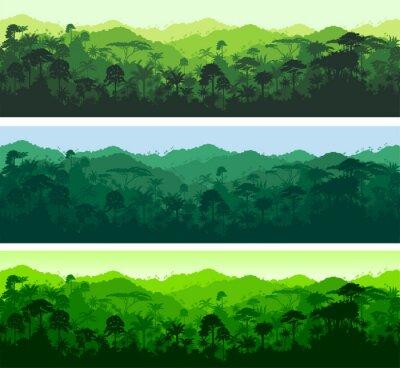 Sticker Vector horizontale nahtlose tropischen Regenwald Dschungel-Hintergrund