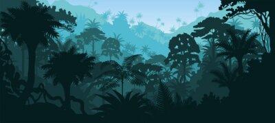 Sticker Vector horizontalen tropischen Regenwald Dschungel-Hintergrund