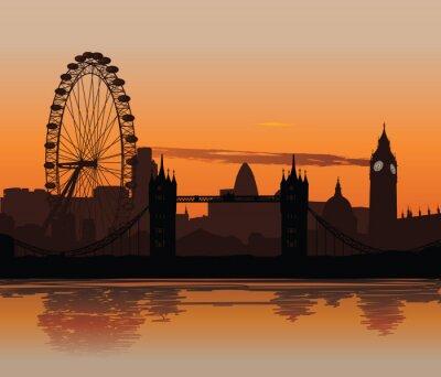 Vector illustration der Londoner Skyline bei Sonnenuntergang