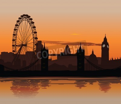 Vector illustration der Londoner Skyline bei Sonnenuntergang mit der Reflexion auf der Themse