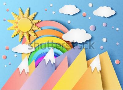 Sticker Vector Illustration einer schönen Landschaft mit der Sonne, dem Regenbogen, den Wolken und den Bergen. Im Stil von geschnittenem Papier.