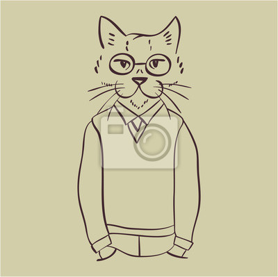 Vector illustration icon of hipster cat