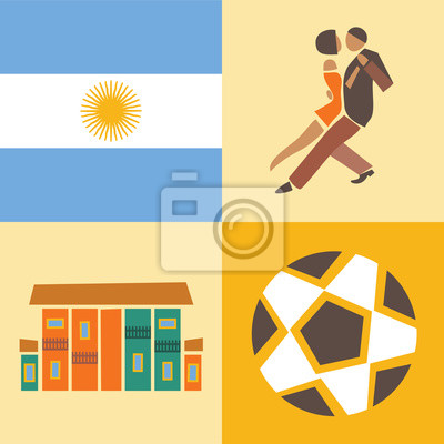 Vector illustration icon set of Argentina, flag, dance, house, soccer ball