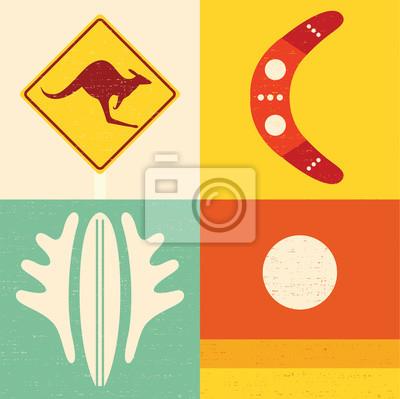 Vector illustration icon set of Australia: kangaroo, boomerang, surfing, nature