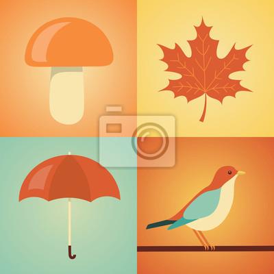 Vector illustration icon set of autumn: mushroom, leaf, umbrella, bird