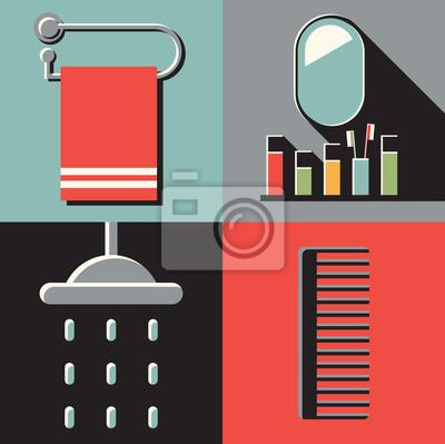 Vector illustration icon set of bath: towel, mirror, shower, bathroom, comb