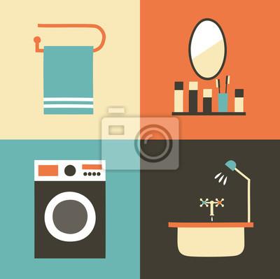 Vector illustration icon set of bath: towel, mirror, washing machine, bathroom