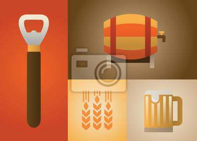 Vector illustration icon set of beer: barrel, bottle opener, malt, beer mug