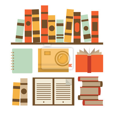 Vector illustration icon set of book